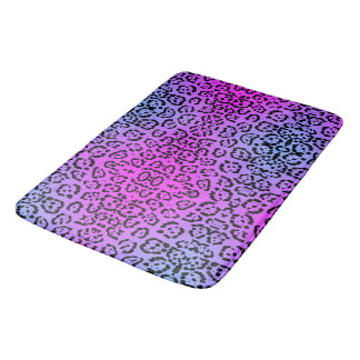 Neon Purple Cheetah Cat Animal Print Bath Mat