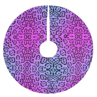 Neon Purple Cheetah Cat Animal Print Brushed Polyester Tree Skirt