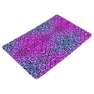 Neon Purple Cheetah Cat Animal Print Floor Mat