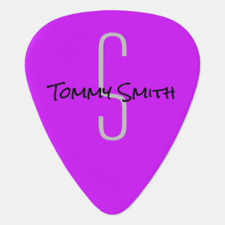 Neon Purple Custom Name Monogram Year Guitar Pick