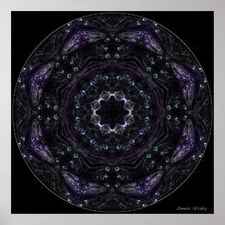 Neon Purple Flower Mandala Posters