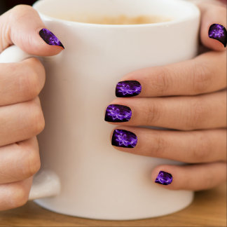 Neon Purple Flower Nail Stickers