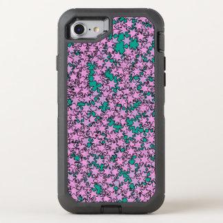 Neon Purple Green Turquoise Stars OtterBox Defender iPhone 8/7 Case