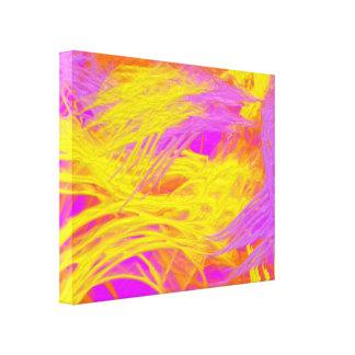 Neon purple, yellow and orange paint splashes canvas print