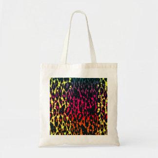 Neon Rainbow Animal Print Budget Tote Bag