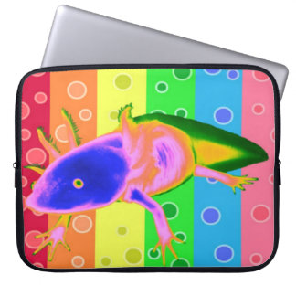 Neon Rainbow Axolotl case Laptop Computer Sleeve