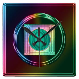 Neon Rainbow, Funky Abstract Clock
