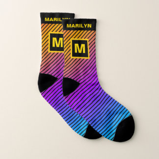 Neon Rainbow Gradient Stripes Name and Monogram Socks