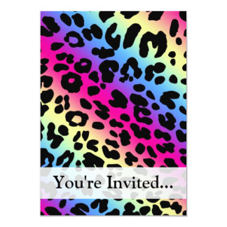 Neon Rainbow Leopard Pattern Print 13 Cm X 18 Cm Invitation Card