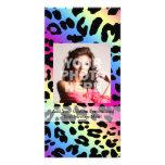 Neon Rainbow Leopard Pattern Print Photo Cards