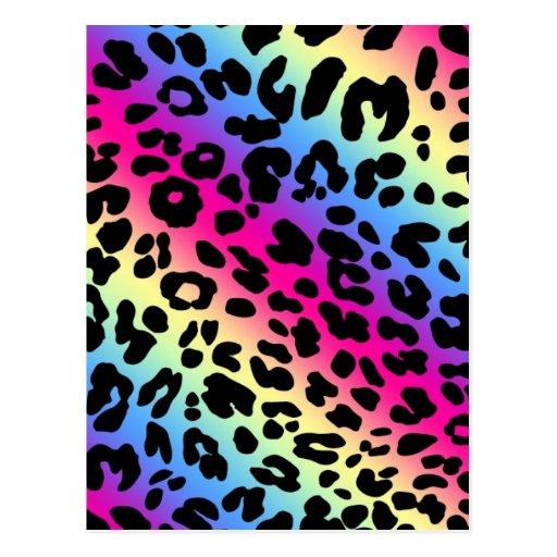 Neon Rainbow Leopard Pattern Print PostcardNeon Pink Leopard Print Wallpaper