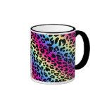 Neon Rainbow Leopard Pattern Print Ringer Mug