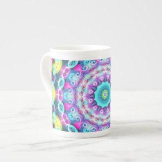 neon rainbow peacock tea cup