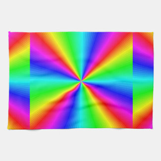 Neon Rainbow Prism Tea Towel