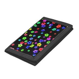 Neon Rainbow Stars Nylon wallet