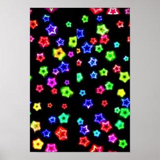 Neon Rainbow Stars Poster