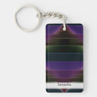 Neon Rainbow Stripes Key Ring