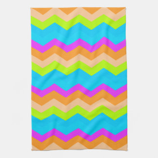 Neon Rainbow Zigzag Hand Towel