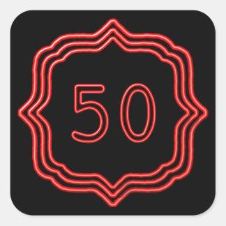 Neon Red 50 Square Sticker