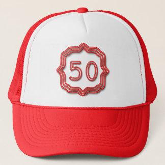 Neon Red 50 Trucker Hat