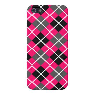 Neon Red, Black, Grey & White Argyle iPhone 4 Case