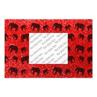 Neon red elephant glitter pattern photo art
