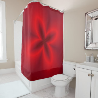 Neon Red Flower Shower Curtain