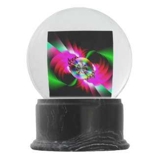 Neon Red Green Abstract Snow Globes