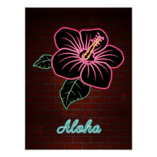Neon Red Hibiscus Flower TEXT ALOHA Poster