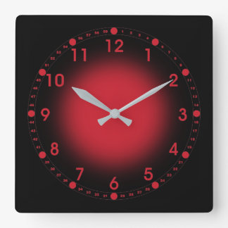 Neon Red Square Wall Clock
