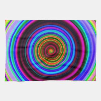 Neon Retro Spiral Circle Pattern Tea Towel