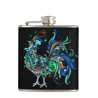 Neon Rooster Hip Flask