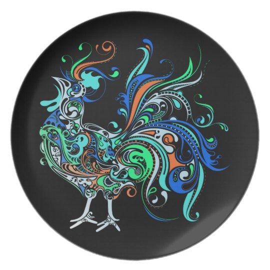 Neon Rooster Plate
