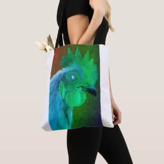 Neon Rooster Tote Bag