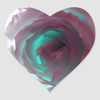 Neon Rose Photograph Heart Sticker