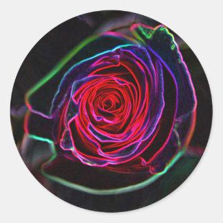 Neon Rose (Round) Classic Round Sticker