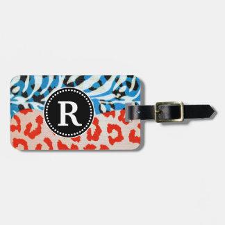 Neon Safari Monogram Red & Blue Bag Tag