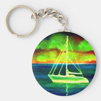 Neon Sailboat Dusk Thirty Ocean Sailing Gifts Keychains