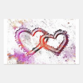 Neon Sand Hearts Rectangular Sticker