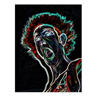 Neon Scream Face postcard