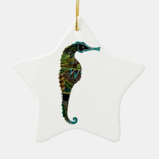 Neon Seahorse Ceramic Ornament