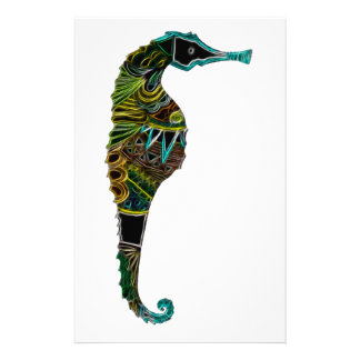 Neon Seahorse Stationery