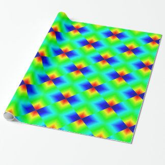 Neon Shapes On Green Wrapping Paper