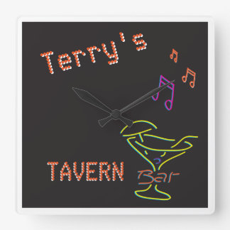 Neon Sign Personalised Mancave Tavern Club Square Wall Clock
