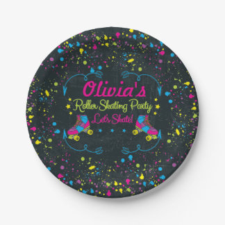 Neon Skate Party Paper Plates 7 Inch Paper Plate