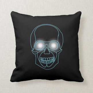 Neon skull with shining eyes design throw pillow