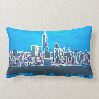 Neon Skyline of New York City Manhattan with WTC Lumbar Cushion