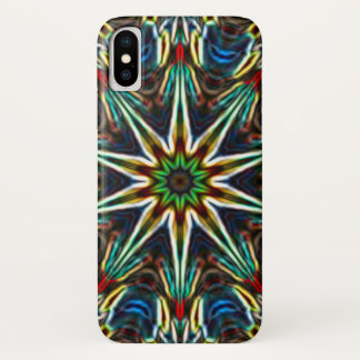 Neon Snow Star Mandala iPhone X Case