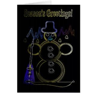 Neon Snowman Card