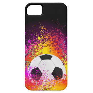 Neon Soccer Ball with Black Background iPhone 5 Cases